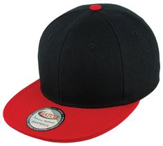 Blank Acrylic Two-Tone Snapback Cap - Black/Red