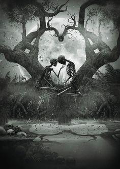 scary love tree white forever moon black edit kiss dark heart skull together skeleton ligafrankorn Skeleton Love, Skeleton Art, Dark Fantasy Art, Dark Art, Dark Love Quotes, Jolie Photo, Gothic Art, Horror Art, Gothic Horror