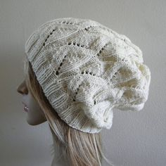 Hand knit beret slouchy hat slouch beanie womens hat by baboom (Accessories, Hat, Knit, beanie, tam, women, cream creamy light, white off white, beret slouchy hat, slouch hat beanie, hand knit cream hat, ivory slouchy hat, warm winter autumn, spring woolly hat, hand knit knitted, knit slouchy hat)