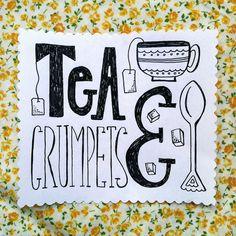 Tea & Crumpets | Heather Dutton | Prompt #9 of the #SpoonChallenge #spoonflower #typography #sketch #doodle #tea