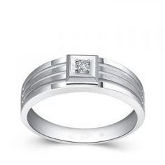 Men's Diamond Wedding Band on Silver