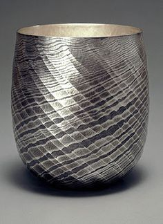 Technique: On tankin (hammered) vessels and by applying the traditional techniques of chasing, mainly nunome-zogan (textile imprint) Metal Bowl, Metal Art, Art Nouveau, Tabletop Accessories, Metal Containers, Damascus Steel, Art Object, Antique Items, Metal Stamping