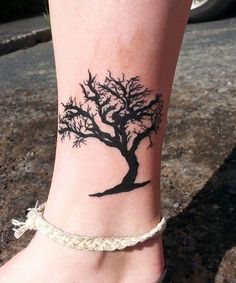 Black Painted Tree Tattoo Desing on Ankle