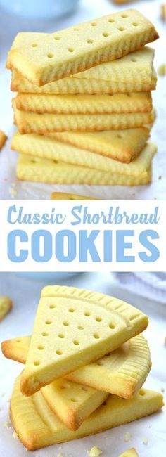 Classic shortbread cookies recipe uses only three ingredients: salted butter, powdered sugar and flour. If you add a hint of vanilla extract, you'll have the best shortbread cookies ever - Easy Shortbread Cookies nachspeisen Easy Shortbread Cookies Recipe Easy Chocolate Desserts, Chocolate Cookie Recipes, Easy Desserts, Delicious Desserts, Dessert Recipes, Yummy Food, Chocolate Chips, Chocolate Ganache, Healthy Food