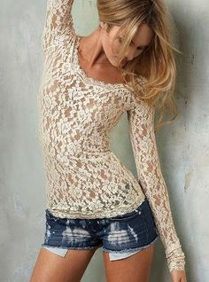 Lace Long Sleeve Shirt And Tight Short