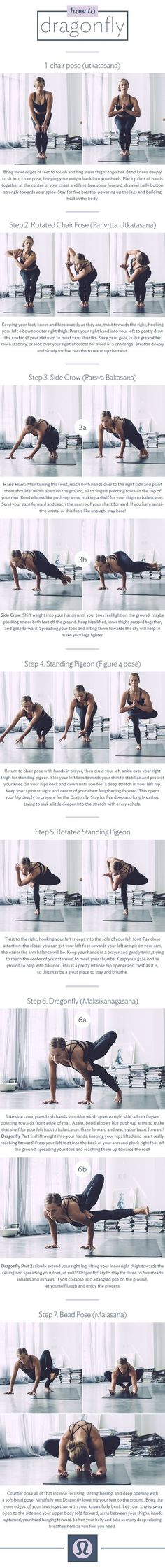 How to Dragonfly in seven steps | Inspiration | Sequences | Loved and pinned by www.nocyoga.com