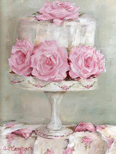 Shabby Chic Art - Celebration Cake by Gail McCormack Arte Shabby Chic, Shabby Chic Decor, Shabby Chic Salon, Vintage Diy, Vintage Images, Cupcake Torte, Cupcakes, Chic Retro, Painted Cakes