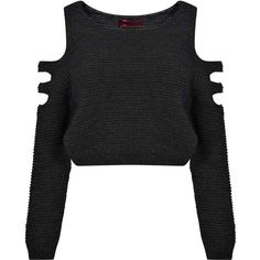 Boohoo Maria Cut Out Shoulder Rib Knit Jumper (19 CAD) ❤ liked on Polyvore featuring tops, sweaters, shirts, jumpers, crop top, ribbed knit crop top, flat top, shirts & tops, crop shirts and open shoulder shirt