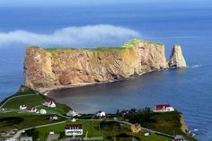 The village and the famous Percé Rock, from nearby Mont-Sainte-Anne, Quebec |