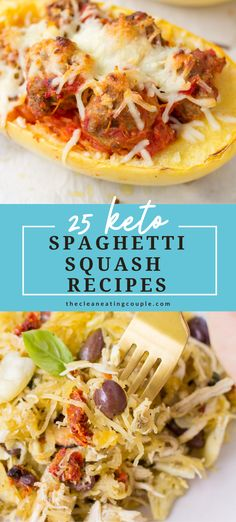 These are the best low carb, Keto Spaghetti Squash Recipes! Easy to make with healthy ingredients-you'll love these recipes for side dishes, chicken + more! Everything from casseroles to stir frys, soups and more. There are recipes for beef, chicken, turkey and even vegetarian options! Healthy Grilled Chicken Recipes, Healthy Turkey Recipes, Lunch Recipes, Keto Recipes, Cooking Spaghetti, Spaghetti Squash Recipes, Healthy Meal Prep, Easy Healthy Dinners, Vegetarian Options