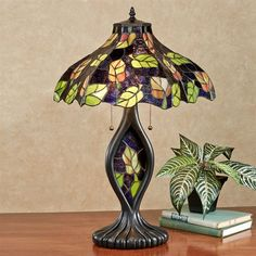 Tansi Foliage Stained Glass Lamp with CFL Bulbs