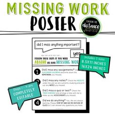 Absent and Missing Work Poster by Teaching the Distance 5th Grade Classroom, Middle School Classroom, Middle School Science, Beginning Of School, Future Classroom, Middle School Posters, Classroom Organization, Classroom Management, Classroom Ideas