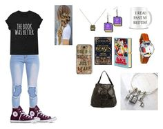 """Book outfit"" by writergirlbvb1djb on Polyvore featuring Olympia Le-Tan, RVCA, Witch Worldwide, Casetify and Converse"