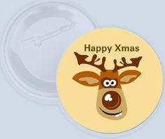 Originální button se sobem přejícím Veselé Vánoce.