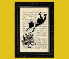 Banksy Girl Falling Art Print - Street Art Stencils Book Art Poster Dorm Room Print Gift Print Wall Decor Poster Dictionary Art Print