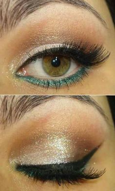 Gold glitter, turquoise, cat eye makeup look.