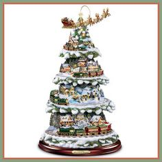 Thomas Kinkade Wonderland Express Animated Tabletop Christmas Tree With Train by Hawthorne Village - Christmas - kerstmis - holidays Christmas Tree Train, Thomas Kinkade Christmas, Tabletop Christmas Tree, Christmas Night, Christmas Villages, Christmas Holidays, Christmas Crafts, Christmas Ideas, Nordic Christmas