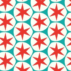 Retro red stars fabric pattern