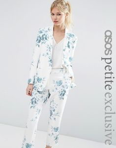 Hình ảnh 1 của ASOS PETITE SALON Blazer ở Blue Floral Print
