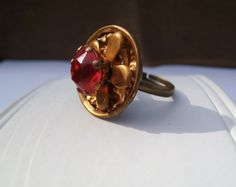Victorian Rhinestone Ring Red Button Ring by ScribbleChickenShop, $12.00
