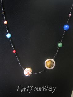 Beaded Solar System Necklace Space Necklace by FindYourWayCrafts