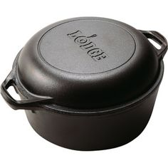 Lodge Logic 5-Quart Cast Iron Double Dutch Oven. I've ordered this from Wal-Mart to bake Artisan Bread in. Cost $34.97 plus tax, but no shipping charge to pick up in store. Lid doubles as a frying pan! Made in USA.