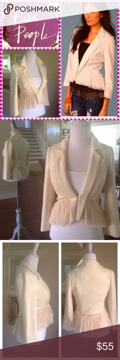 """FREE PEOPLE soft knit ruffle peplum jacket In a butter-cream color this jacket has so many cute features! Soft mesh ruffle has a hi-lo affect, higher in the front & goes lower in the back. Front button lapel & hook closure. button detail on the 3/4 length sleeves. Interior is lined w/a contrast floral pattern. Great condition! 99%cotton/1%spandex. Size tag missing but this is a S but ck measurments. Approx meas laying flat: shoulder to shoulder:15""""/ armpit to armpit:16""""/ shoulder to front…"""