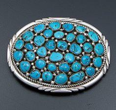 Melvin Vandever (Navajo) - Thirty-five Stone Kingman Turquoise & Sterling Silver Oval Belt Buckle #41840 $330.00