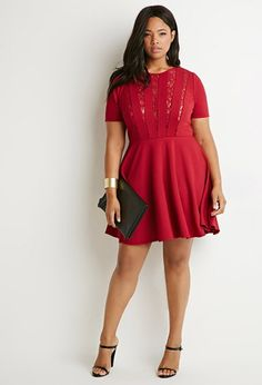 Plus Size Lace-Trimmed Fit & Flare Dress | shopswell