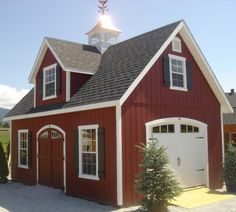 New farmhouse garden shed garage Ideas Amish Sheds, Amish Barns, Plan Garage, Garage Shed, Garage Doors, Garage Kits, Garage Ideas, Small Garage, Detached Garage