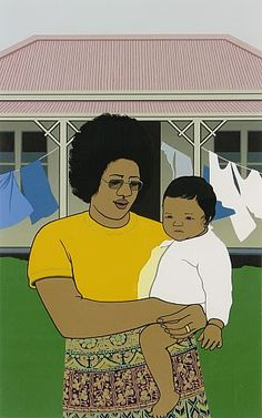 nappy valley nappies and clothing flap on the washing line behind mere and her daughter siulolovao this 1978 screenprint by the new zealand artist ro # # Acrylic Portrait Painting, Portrait Paintings, Portraits, Auckland Art Gallery, Greek Paintings, River Painting, New Zealand Landscape, New Zealand Art, Nz Art