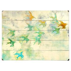 Flock of Colors Wall Art - make a bird stamp, use on color washed boards