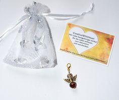 Schutzengel Glücksbringer Anhänger 4,5cm braun gold Glas Kristall Perlen Charm Engel Engelchen Handtasche Geldbeutel Schlüssel Armband Kette von CreativeWithHeart auf Etsy