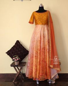 And at all once, Summer collapsed into Fall . 🍁🍂 To order, WhatsApp us on 7411864687 Indian Long Dress, Indian Gowns Dresses, Dress Indian Style, Long Gown Dress, Frock Dress, Full Skirt Dress, Long Gowns, Kids Blouse Designs, Dress Neck Designs