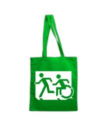 Accessible Means of Egress Icon (Running Man and Wheelie Man Left Hand) Wheelchair Exit Sign Design Reusable Tote Bags, Sign Design, Cart, Cotton, Running Man, Exit Sign, Signs, Hall Runner, Dinner Plates