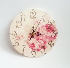 Christmas Sale Romantic Shabby Chic Decoupage Wooden Wall Clock Rose Gift Idea…