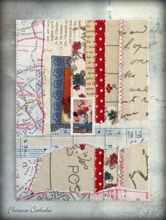 stamp, fabric & paper scrap / florence cathala