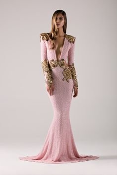 Petal pink long sleeve dress with gold accents! By Micheal Costello