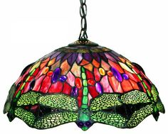 Warehouse of Tiffany Style Stained Glass Dragonfly Red Hanging Lamp Brighten up your home decor with this Tiffany Style Dragonfly Lamp Hanging lamp colors