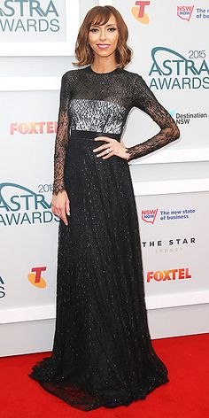 Last Night's Look: Love It or Leave It? | GIULIANA RANCIC | showing off her darker do in a black-and-white dress with an embellished black overlay at the Astra awards in Sydney, Australia.