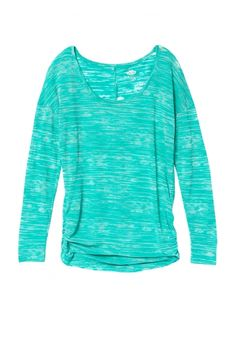 sea green cinched side long sleeve striped burnout tee (original price, $24) available at #Maurices