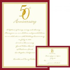 Red and Gold 50th Anniversary Invitations by Invitation Duck
