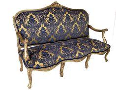 Gilded French Sofa in velvet