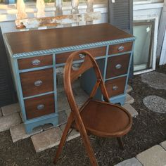 This vintage desk was painted in the same blue as the previous post with the top and drawers stained a rich brown.