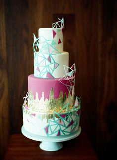 Geometric wedding cake with bright colors and gold foiling. This is most definitely unique! Beautiful Wedding Cakes, Beautiful Cakes, Amazing Cakes, Cake Wedding, Geometric Cake, Geometric Wedding, Geometric Shapes, Cupcakes, Cupcake Cakes