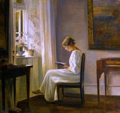 "Carl Vilhelm Holsøe, ""Interior with a Woman Reading"""