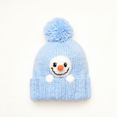 Snowman Hat Kids Winter Hat Knit Hat Pom Pom Hat Infant