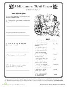 Worksheets: Midsummer Night's Dream Quotes