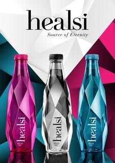 Healsi - Water Packaging Water Packaging, Bottle Packaging, Cute Water Bottles, Glass Bottles, Mineral Water Brands, Hydration Bottle, Agua Mineral, Trophy Design, Plastic Design