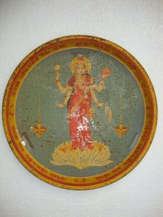 Vintage Hindu Wealth Goddess Devi Laxmi Litho Print Ad Tin Tray